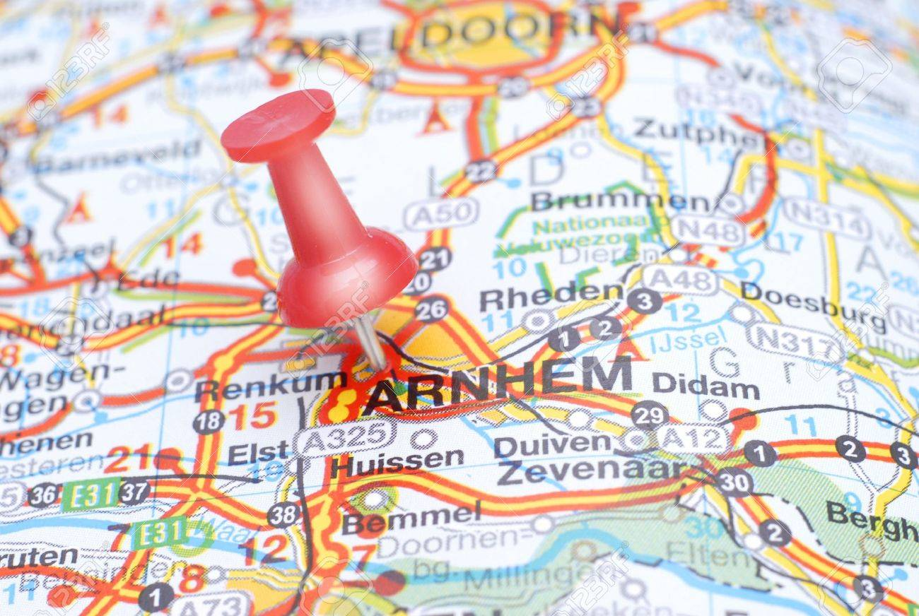 Map Of Arnhem With A Red Push Pin Stock Photo Picture And Royalty