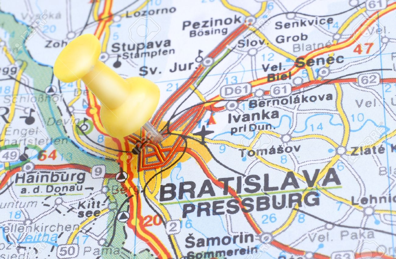 Map Of Bratislava With A Yellow Push Pin Stock Photo Picture And