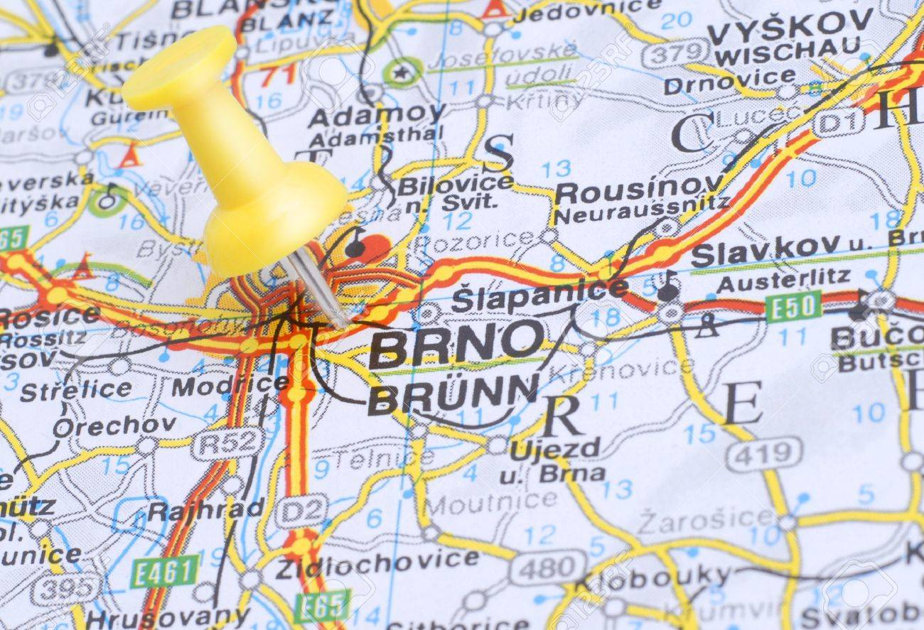 Map Of Brno With A Yellow Push Pin Stock Photo Picture And Royalty