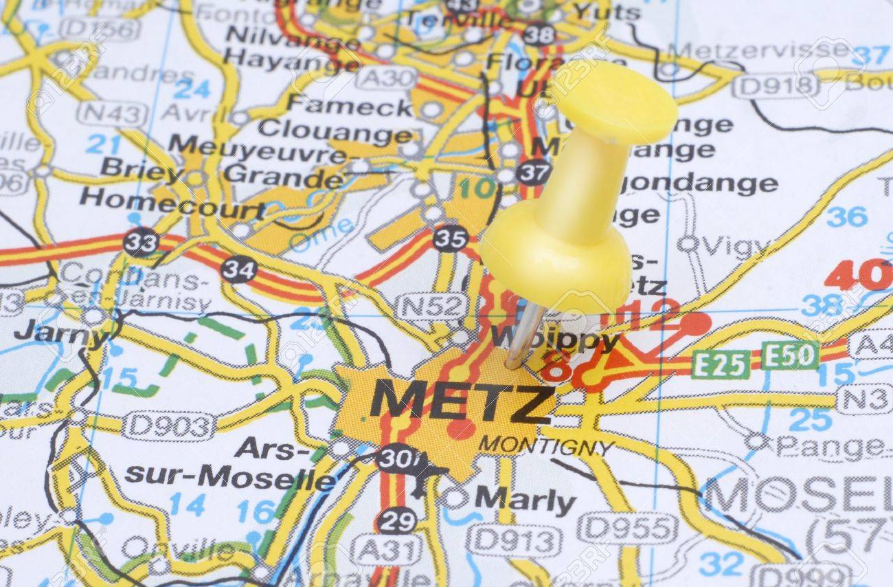 Push Pin Pointing Metz On The Map Of France Stock Photo Picture And