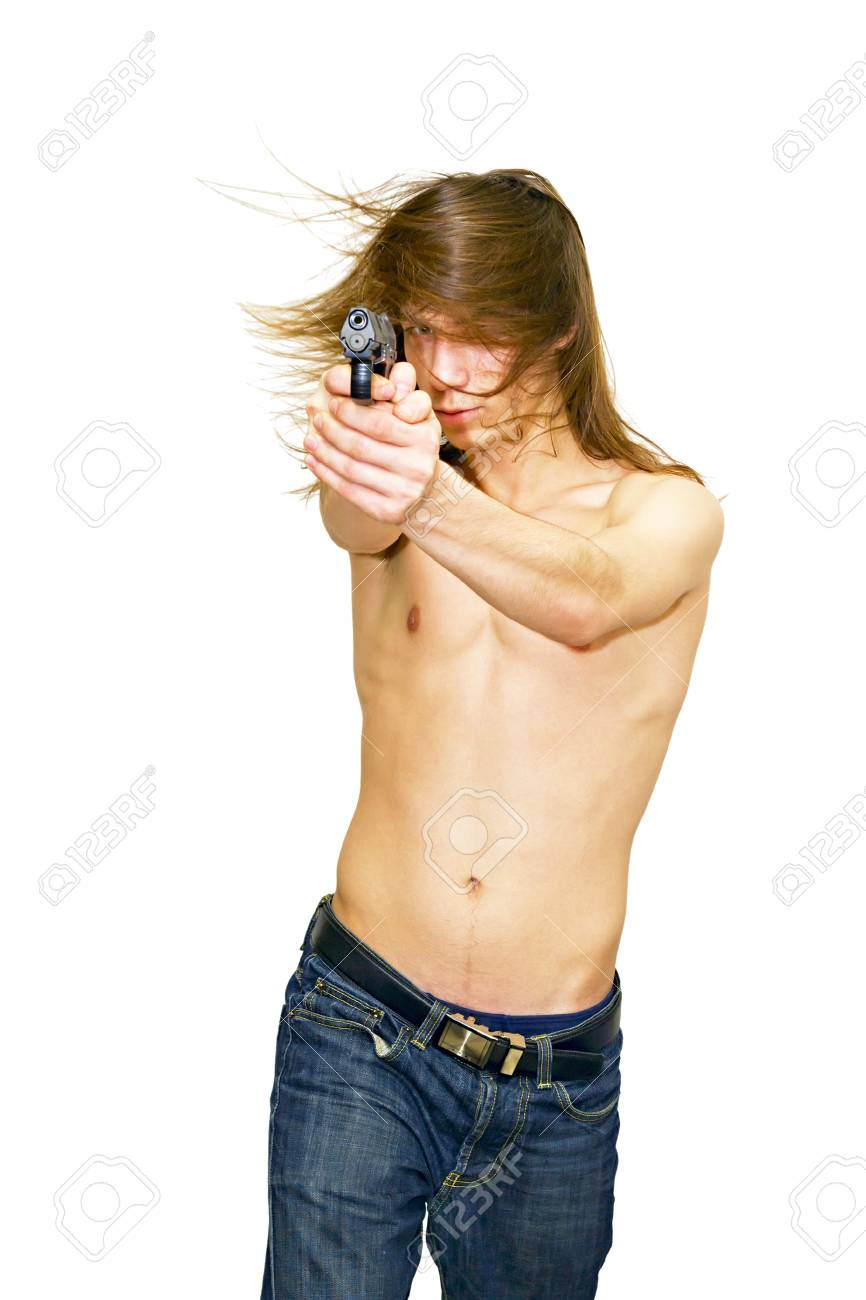 a young man aiming a gun isolated on white background Stock Photo - 11278845