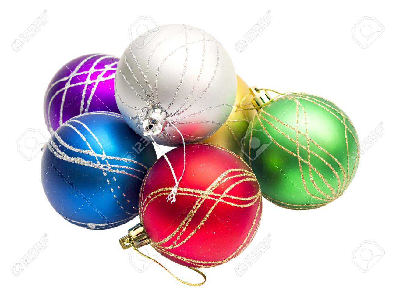 multi-colored Christmas balls isolated on white background Stock Photo - 11450231