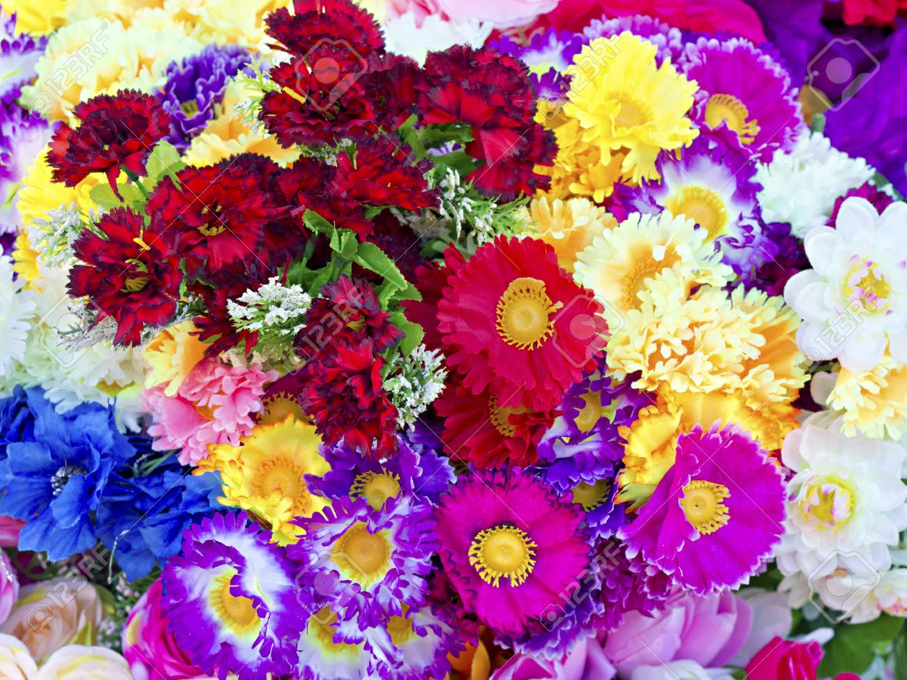 background of colorful artificial flowers Stock Photo - 13159713
