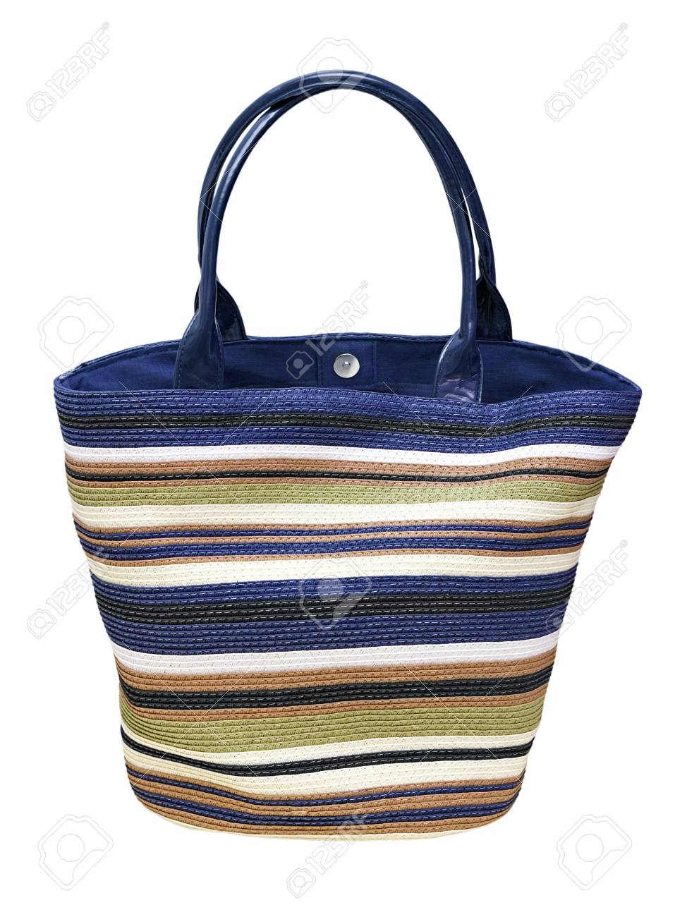 colorful woven shopping bag isolated on white background Stock Photo - 14076568