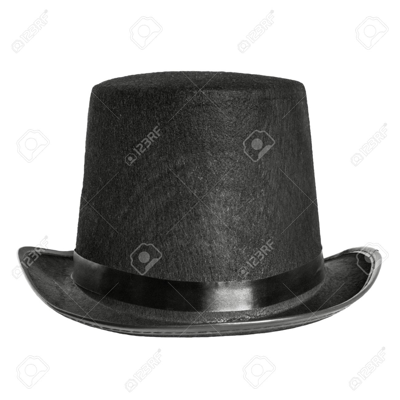 82fc1d0c38526 black felt hat isolated on white background. front view Stock Photo -  35084258