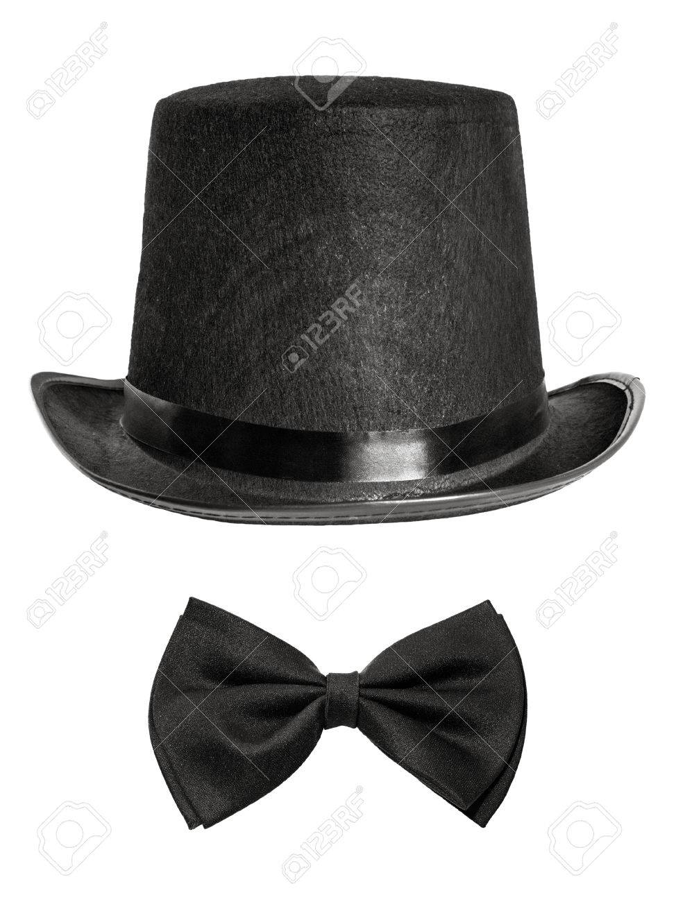 b74e87682db black felt hat and bow tie isolated on white background. front view Stock  Photo -