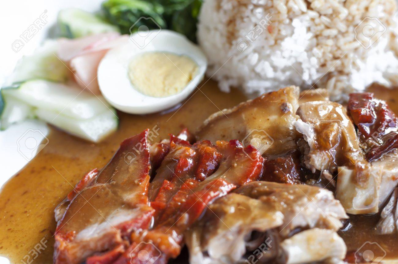 Chinese Style Roasted Pork With Rice And Egg Stock Photo 14249438