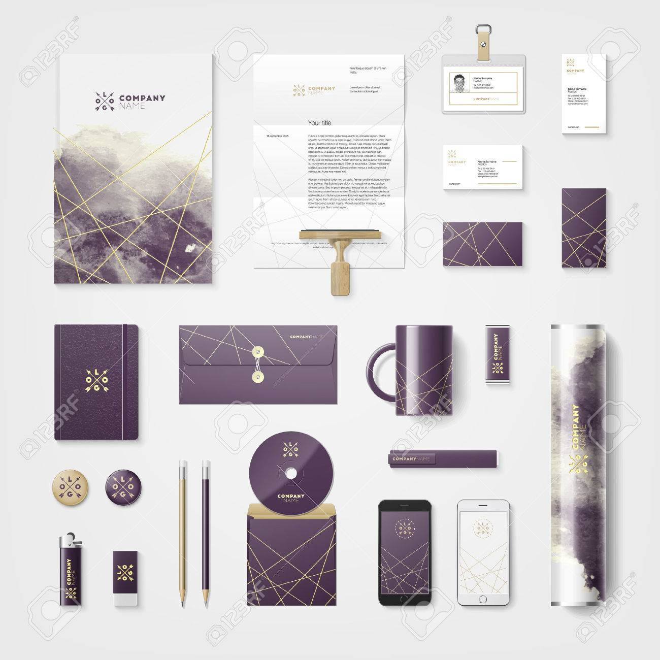 trendy watercolor cross processing corporate identity template