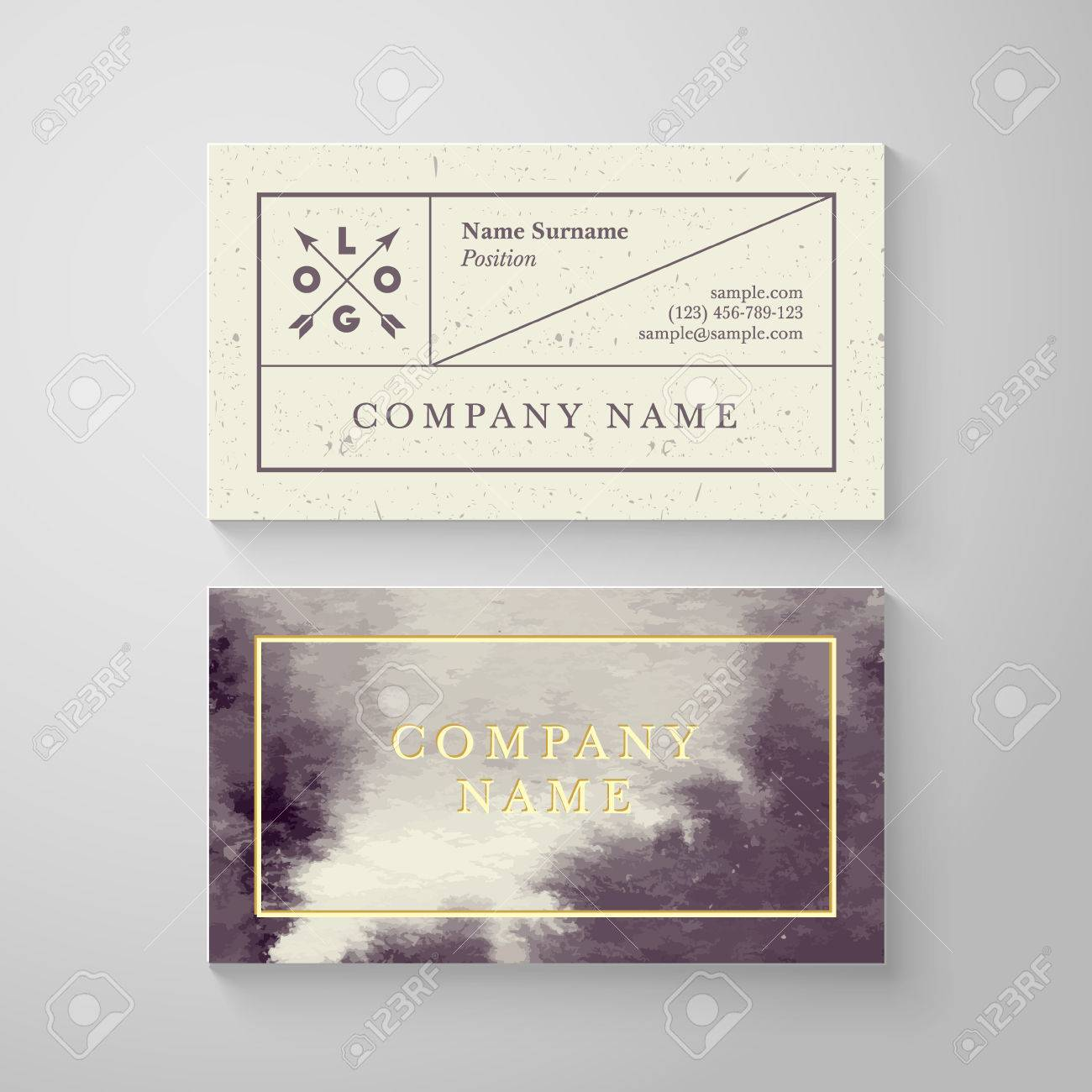 Trendy Watercolor Cross Processing Business Card Template. High ...