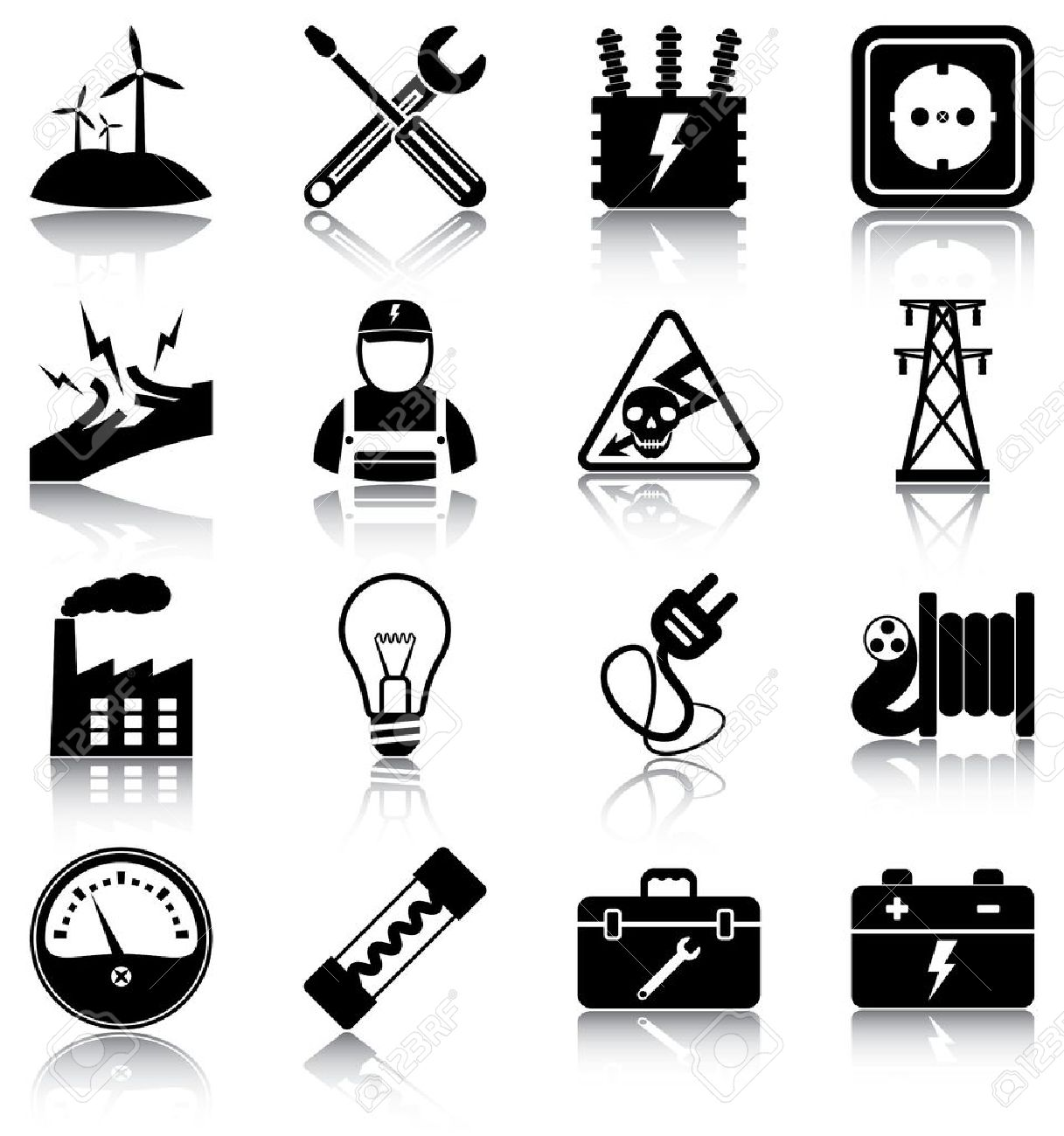 16 Electricity Related Icons Silhouettes Royalty Free Cliparts – Icons Fuse Box