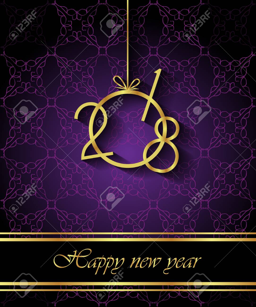 2018 happy new year invitation on the dinner background for flayer stock vector