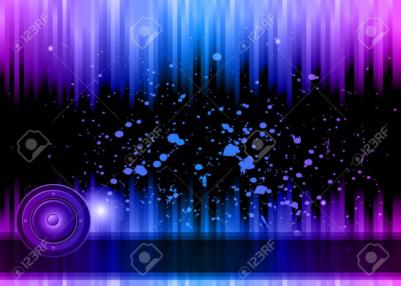 Disco club flyer with colorful elements. Ideal for poster and music background. - 123695072