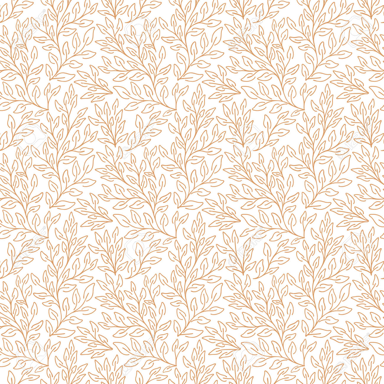 Vector natural seamless pattern. Contour floral pattern. Monochrome background with leaves - 168555741