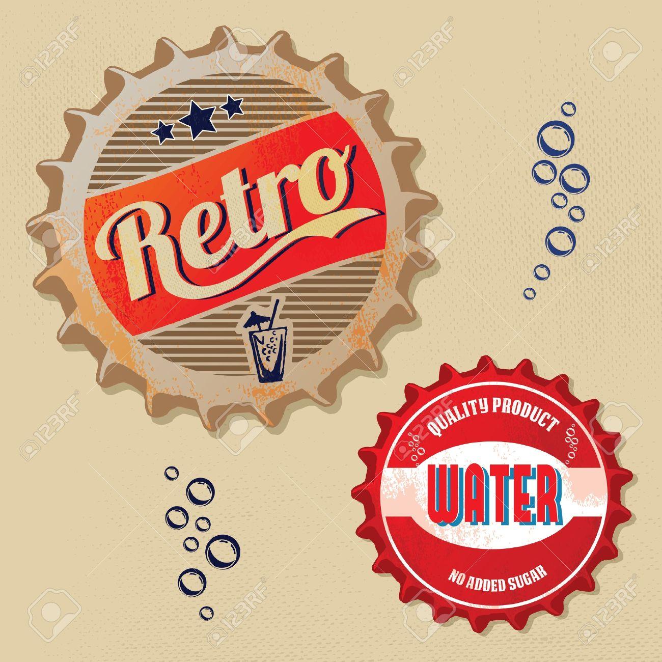Retro bottle caps design - Vintage style - 18542193