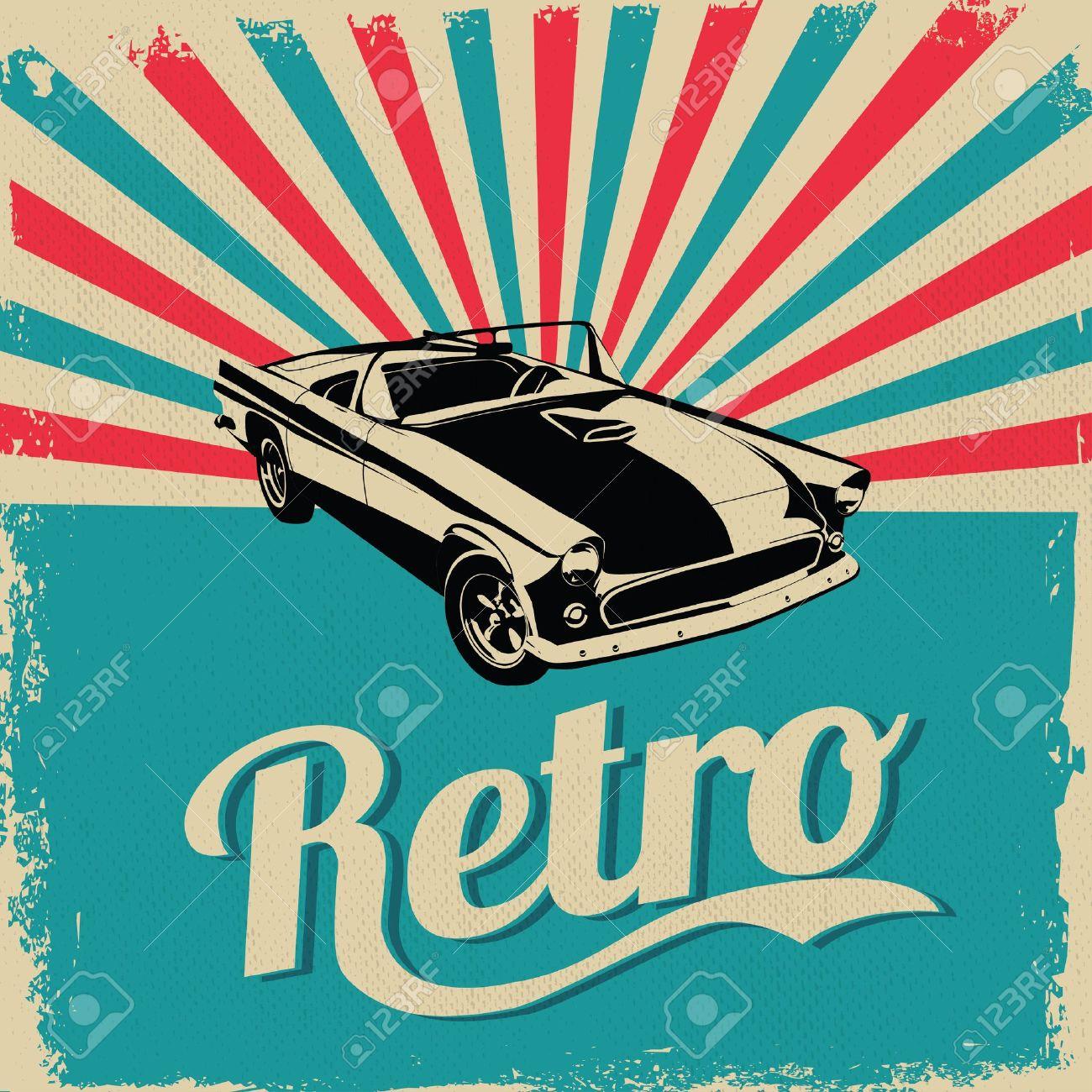 Vintage car design flyer - Grungy style vector design - 18855806
