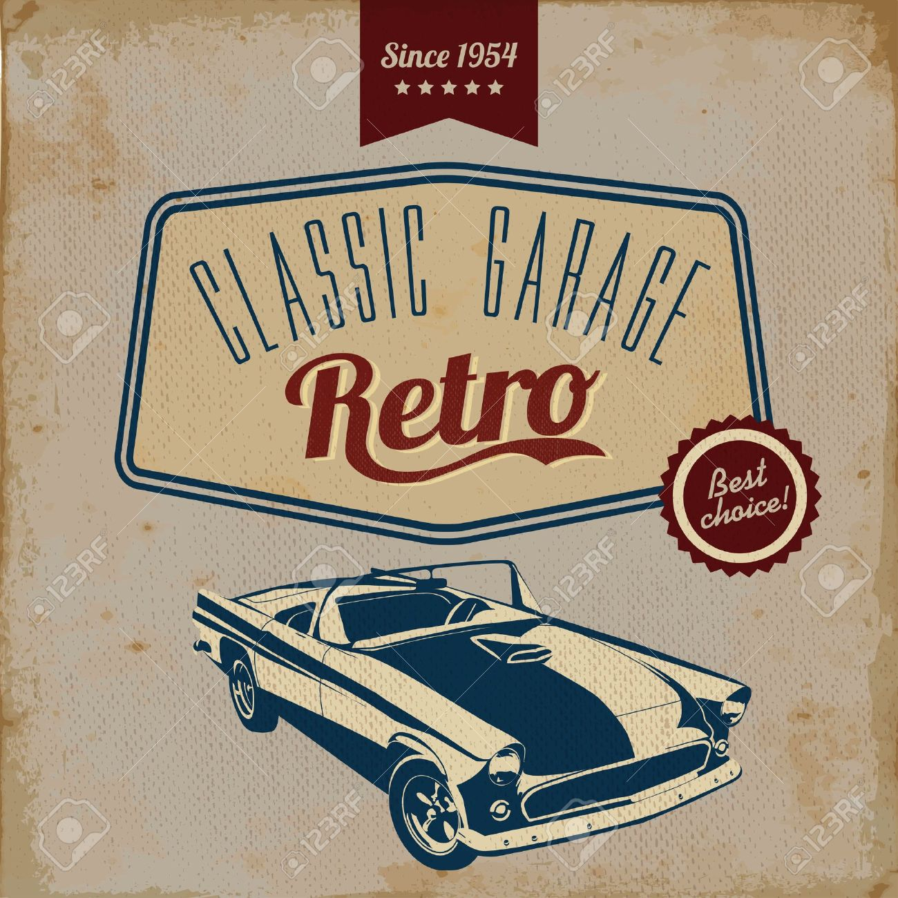 Vintage Car Design Flyer Grungy Style Vector Design Royalty Free – Car Flyer