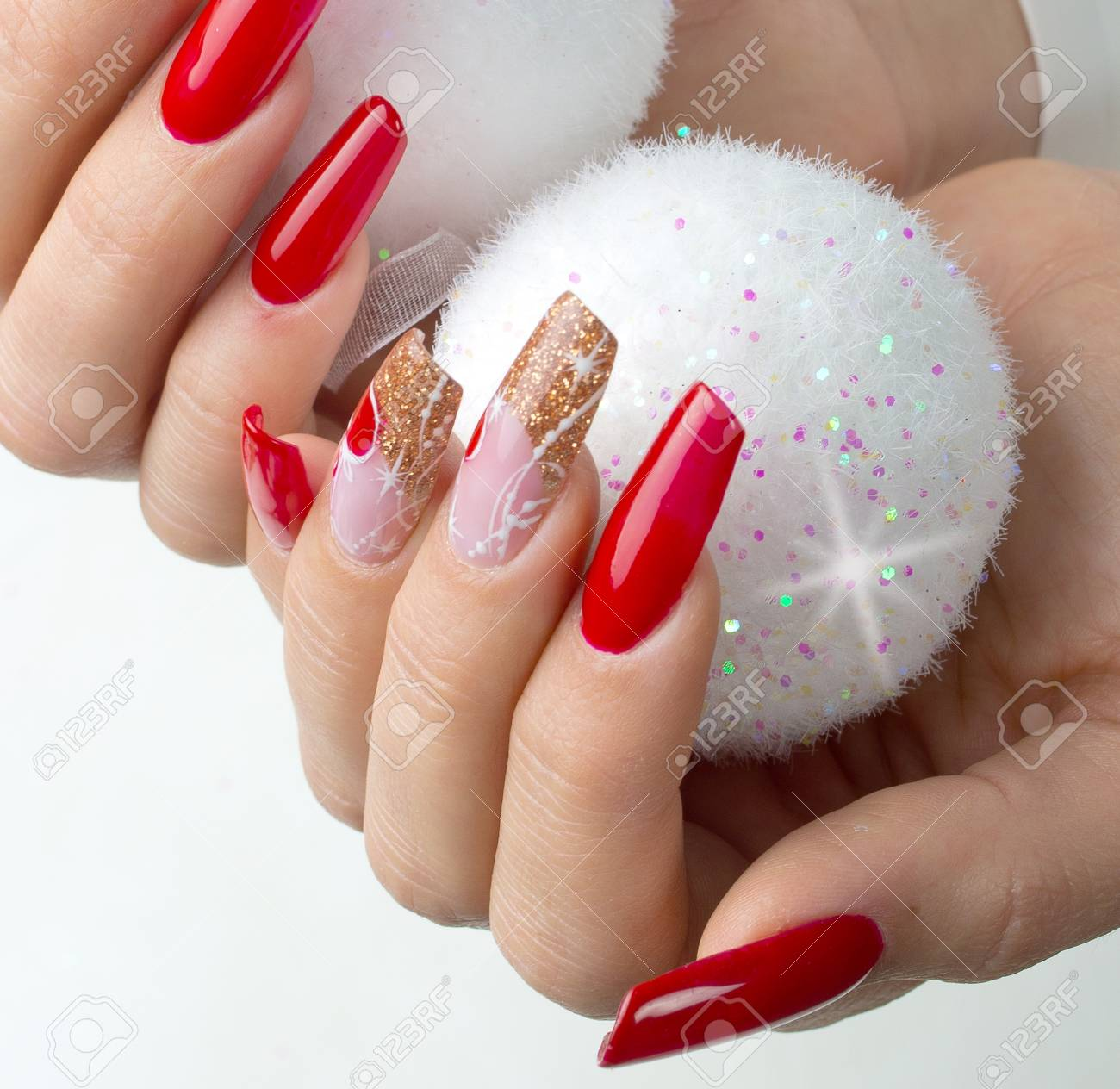 Nails Decorated With Red, Christmas Decorations And Golden Hues ...