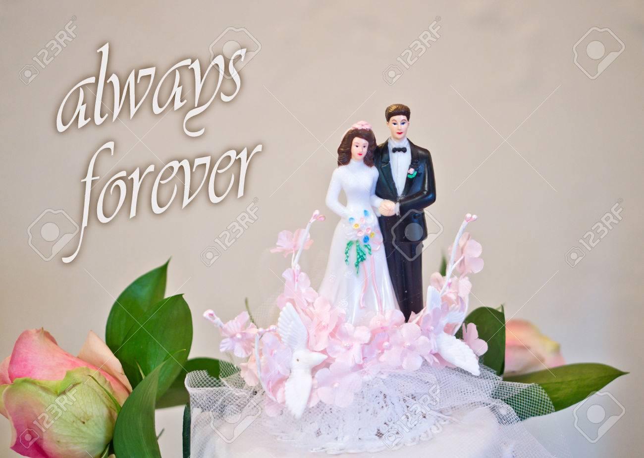 Figuren Der Braut Und Brautigam Hochzeitstorte Wunschen Alles Gluck