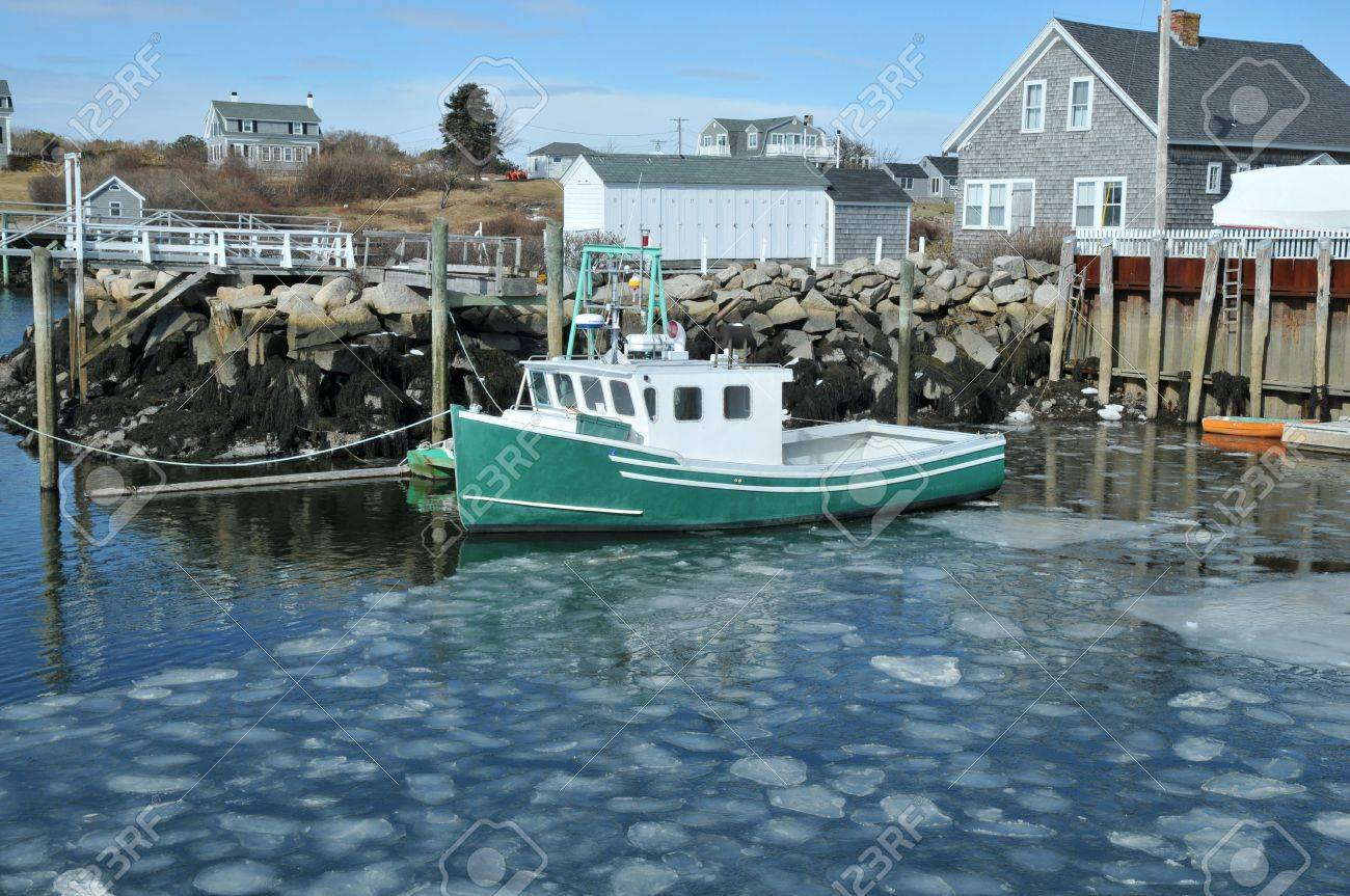 Fishing Boat Docked In An Ice Filled Harbor At Biddeford Pool Stock Photo Picture And Royalty Free Image Image 6572030