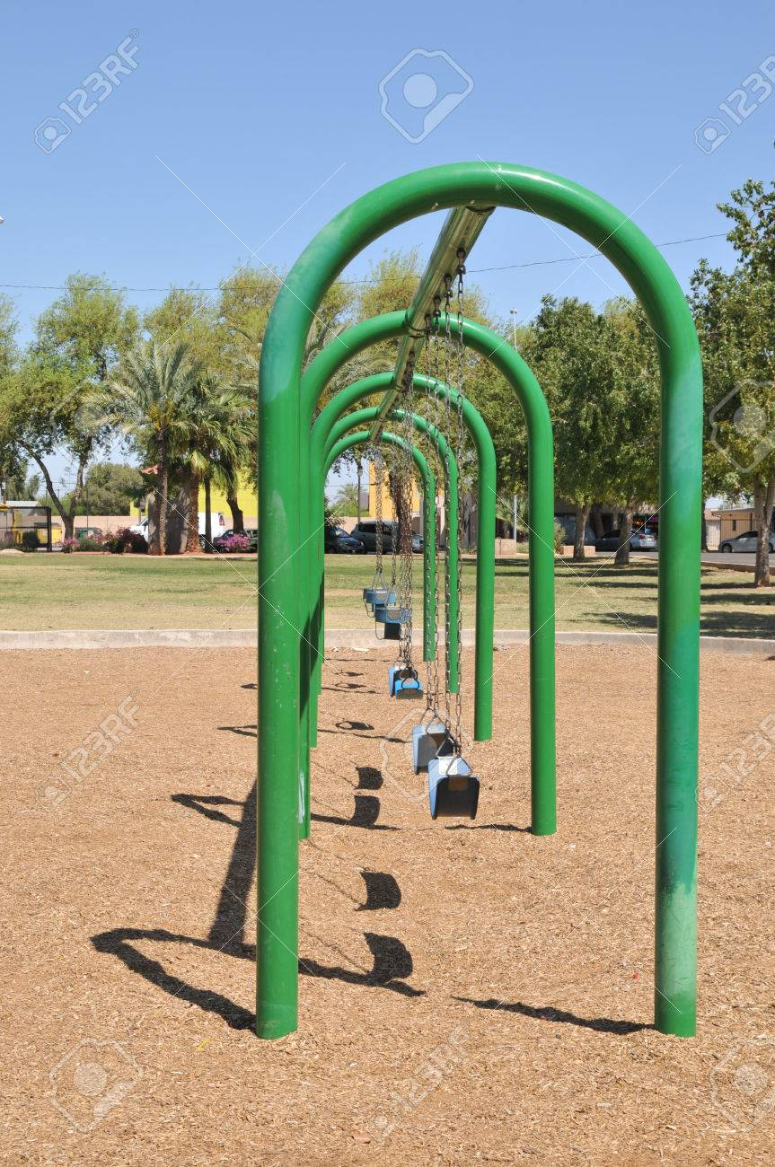 Perspective Shot Of A Swing Set At A Park In Avondale Az Stock