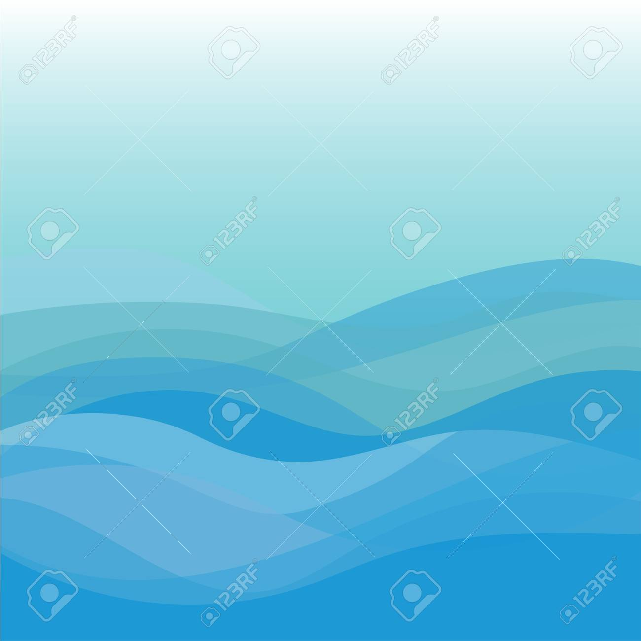 Blue wave vector abstract background flat design - 124970925