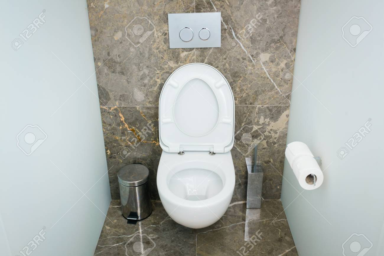 Modern bathroom or wc toilet interior with clean detais and