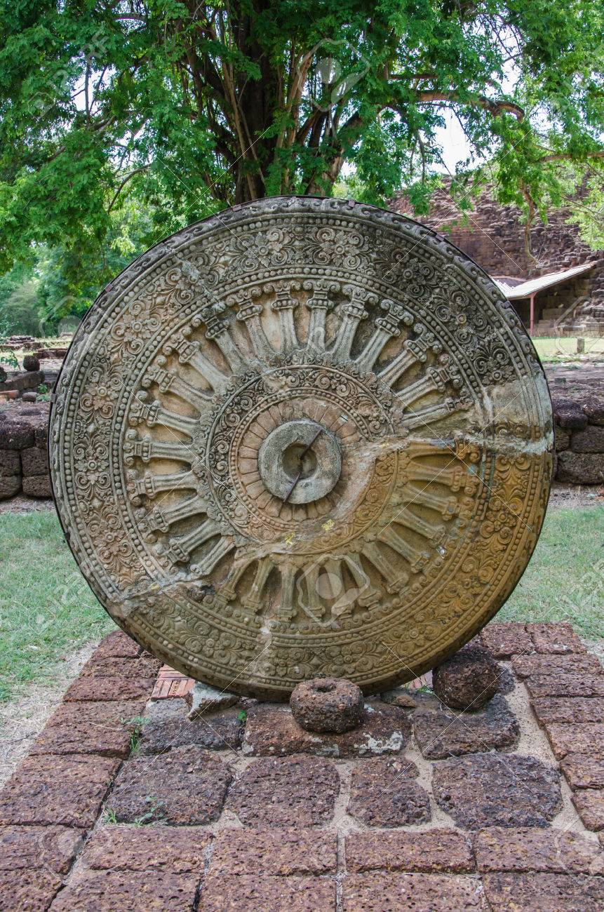 ancient wheel of dhamma wheel of life si thep historical park stock
