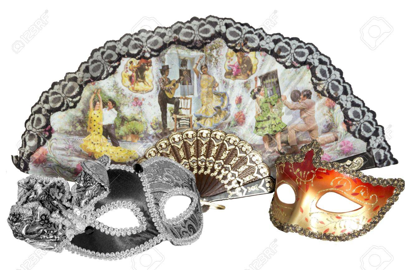 Carnival mask black white unisex golden orange red womens against the background of a fan where the people dance Stock Photo - 20704376