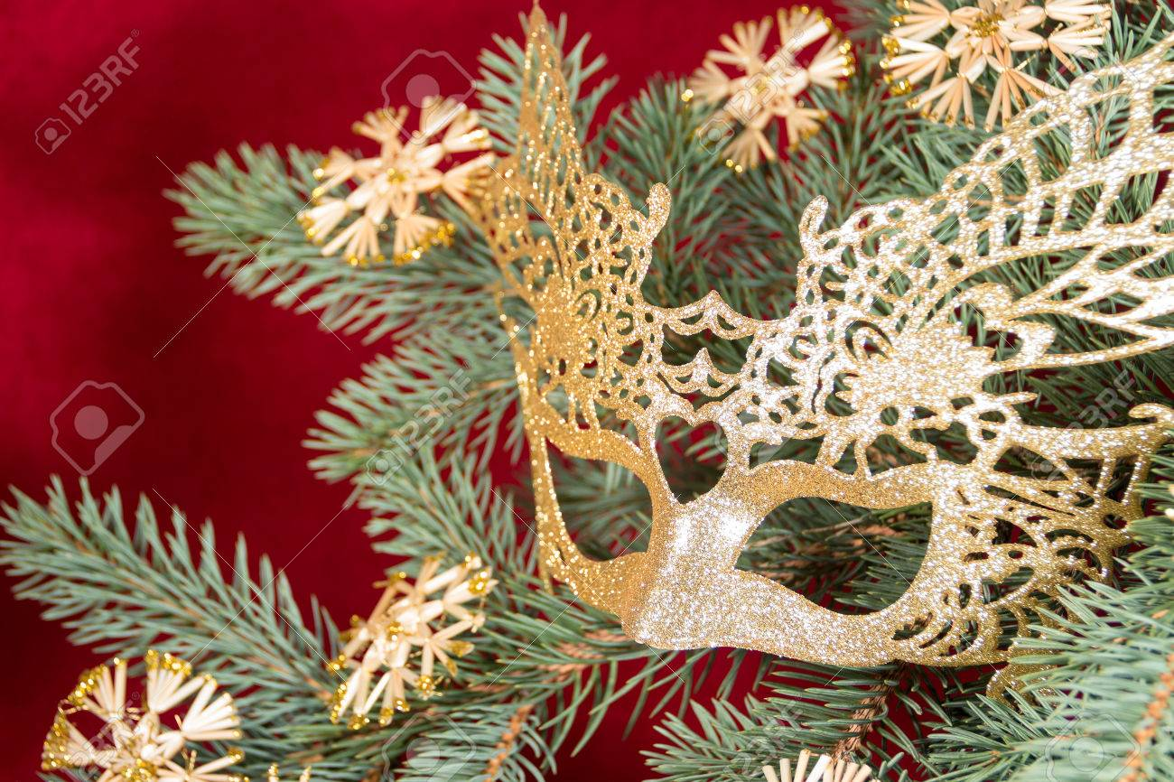Carnival Mask Christmas Tree Snowflakes Ornamental Shrubs Branches New Year Stock Photo