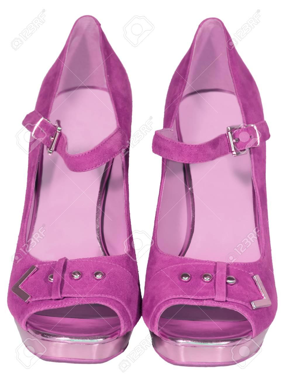 Femmes Chaussures Talon Haut Rose Isolé Fond Blanc Banque D