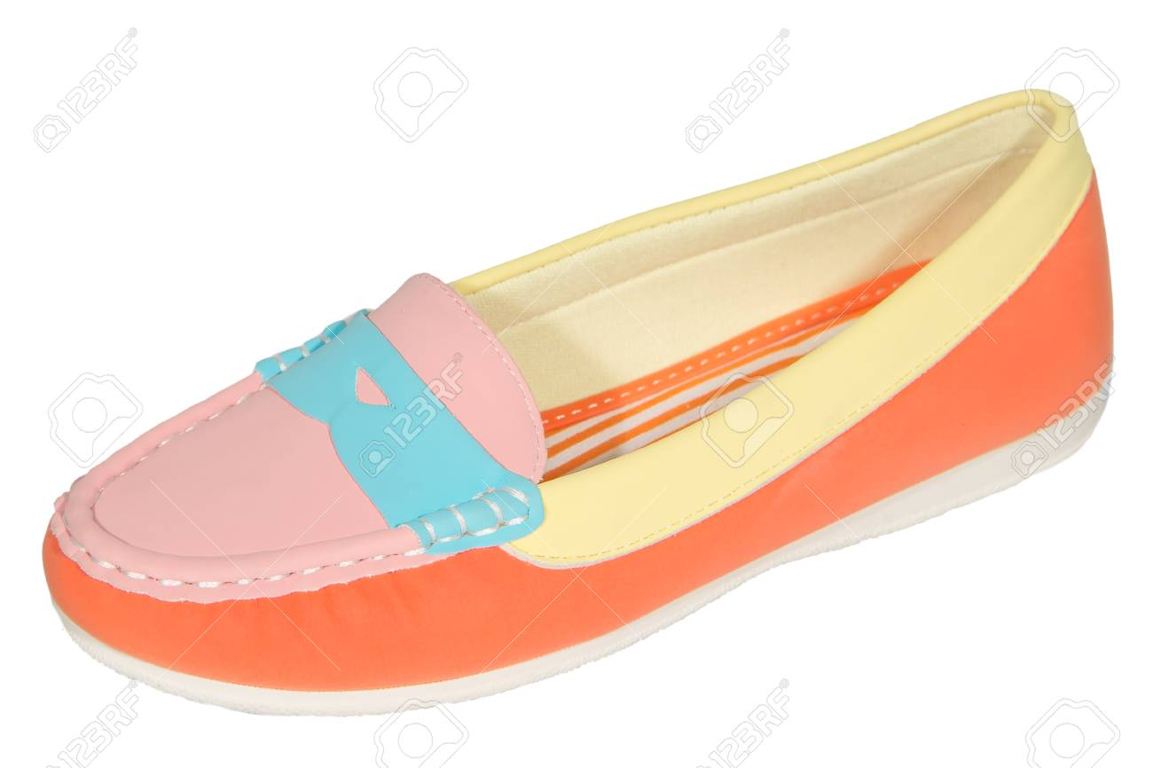 251385cda shoes ballet flats multicolored baby female white background isolated Stock  Photo - 36145172