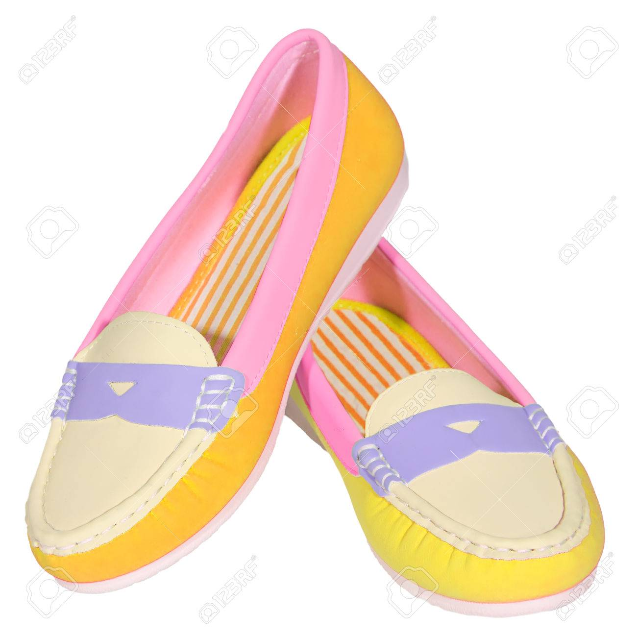 e1583bd84 shoes ballet flats multicolored baby female white background isolated Stock  Photo - 36145187
