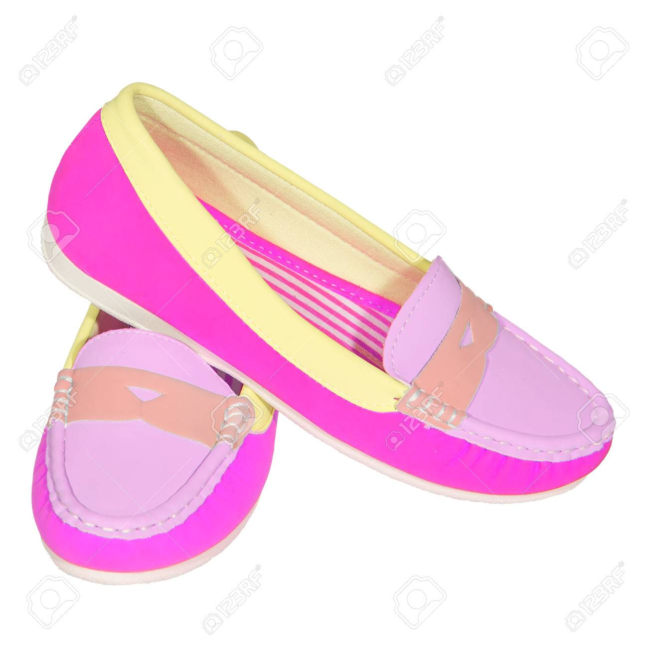 96b30a234 shoes ballet flats multicolored baby female white background isolated Stock  Photo - 36145202