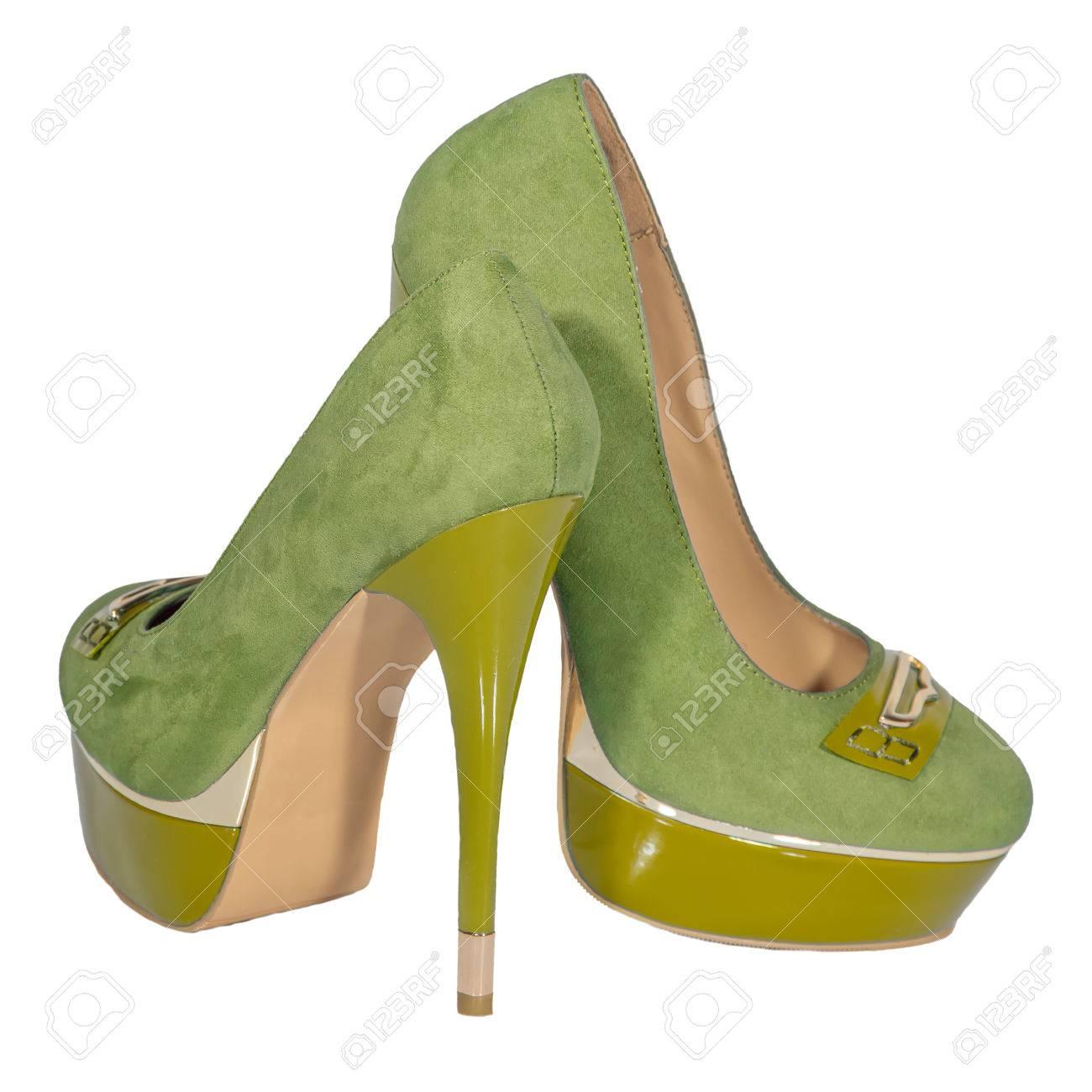 Colore Verde Sfondo Di Alto Bianco Giallo Tacco Scarpe Donna Isolato 86qIZZ