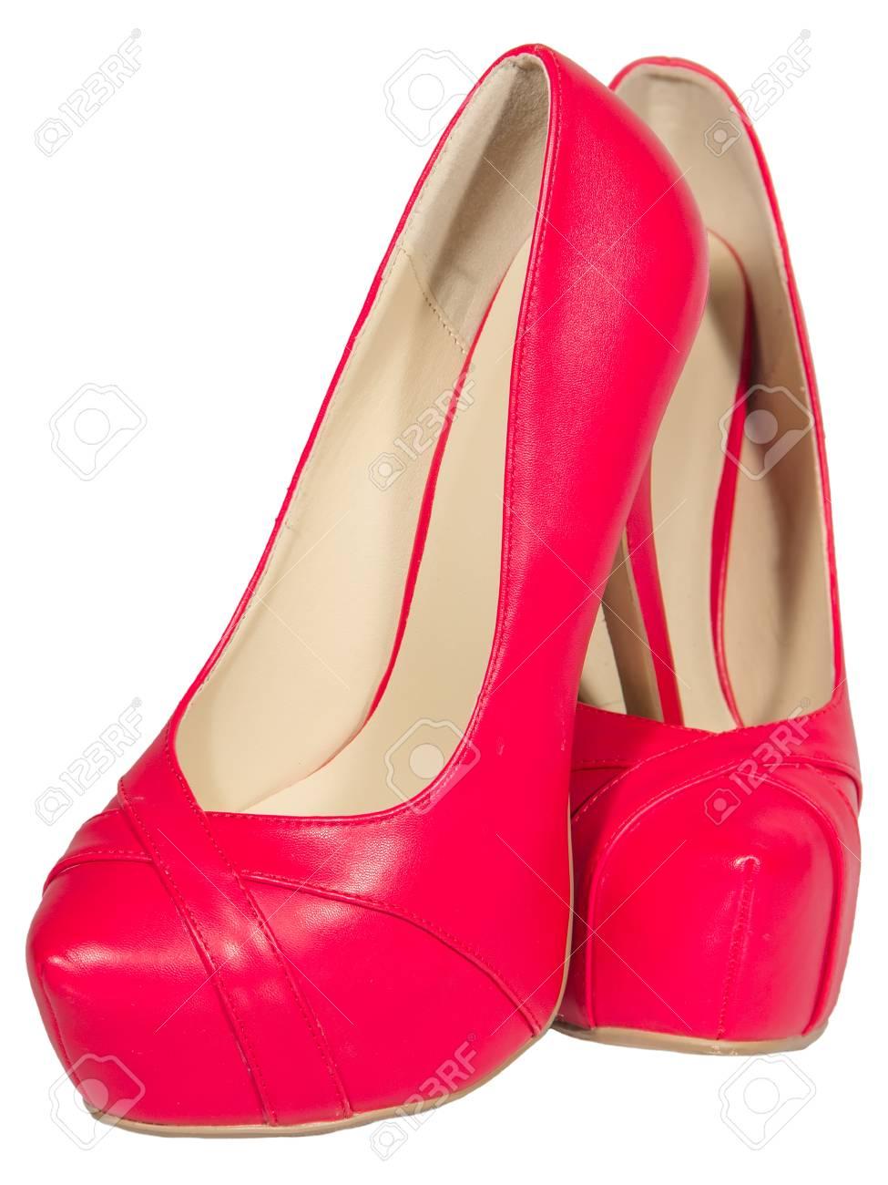 en soldes lacer dans Conception innovante Chaussures femmes haut talon rouge isolé fond blanc
