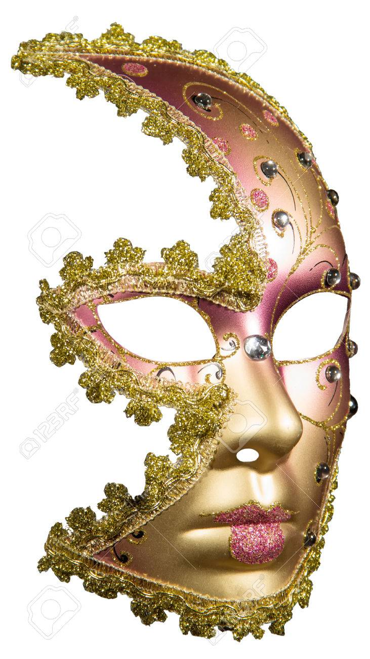 carnival masquerade mask christmas pink gold white background