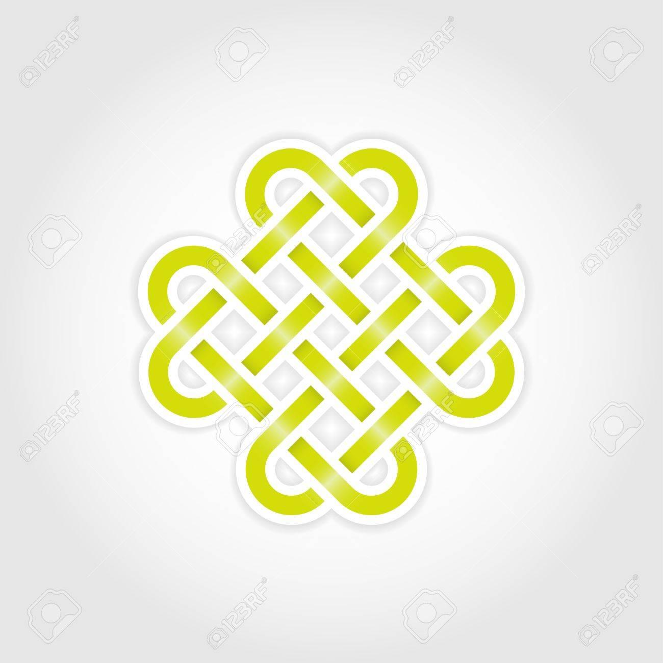 Green eternal knot concept in editable Stock Vector - 14895826