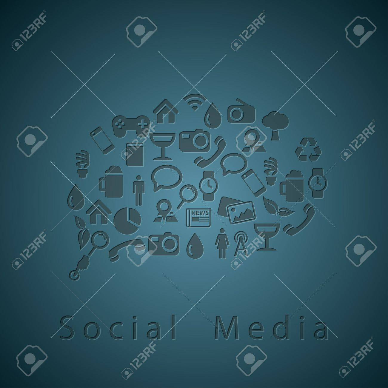 Social media icons texture in chat bubble Stock Vector - 15527091