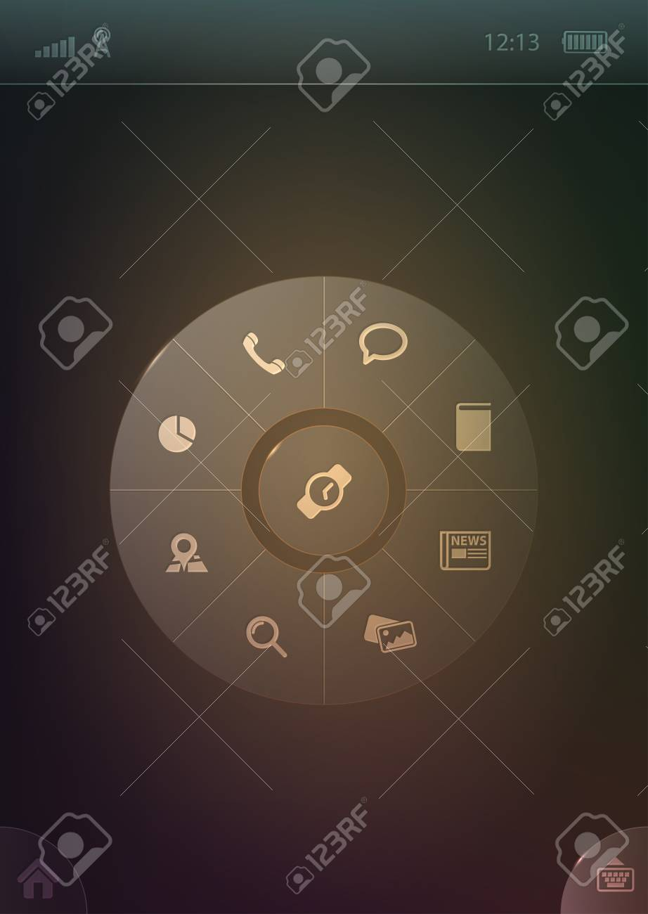 Radial smartphone menu template Stock Vector - 15804281