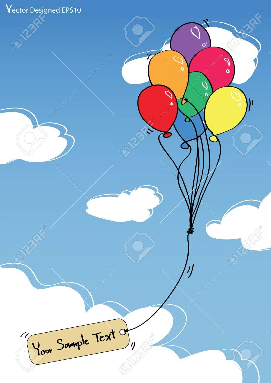Colorful balloons with empty tag on the blue sky Stock Vector - 13229052