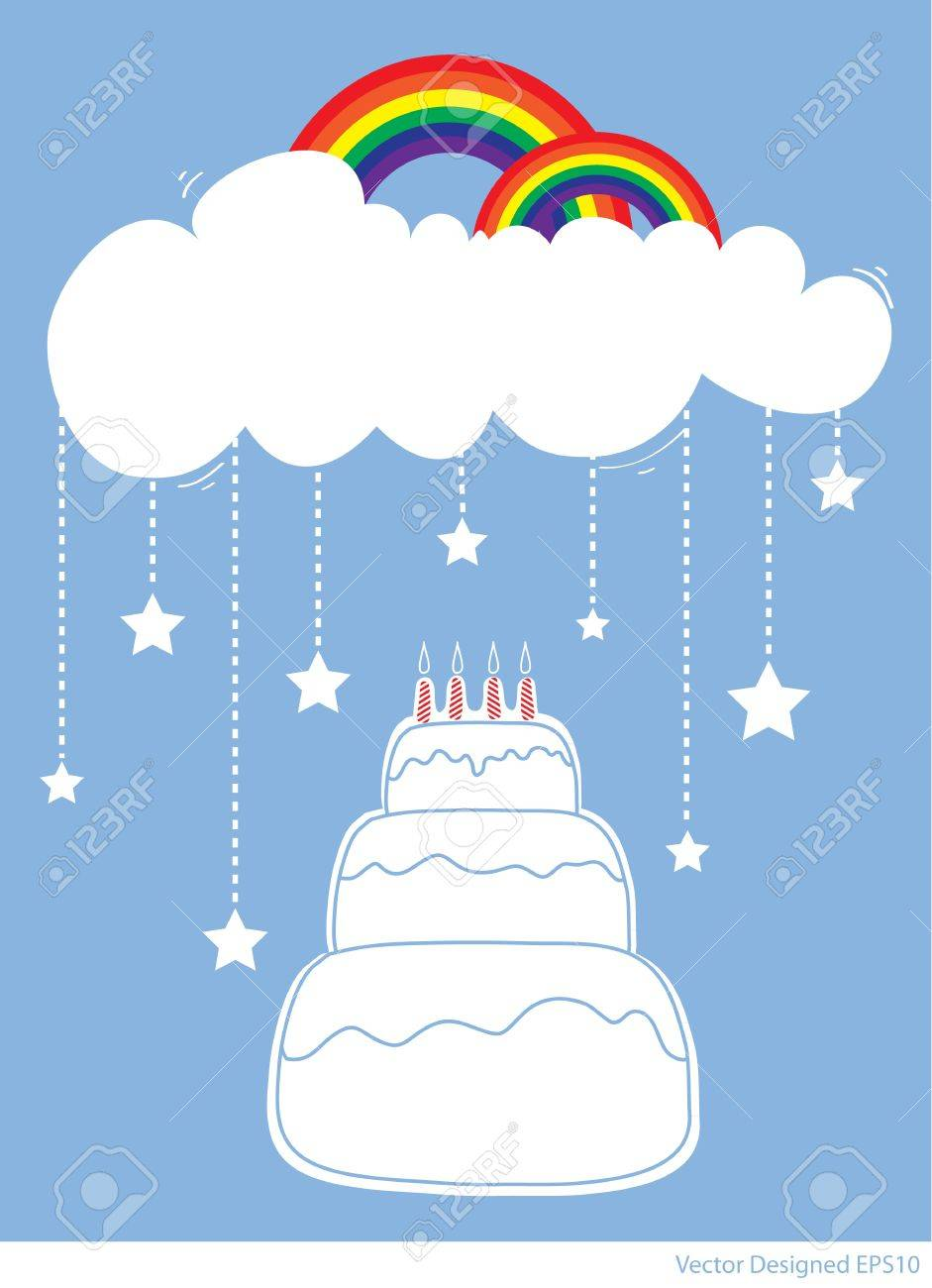 Birthday Cake with rainbow and star falling from white clouds Stock Vector - 13229040