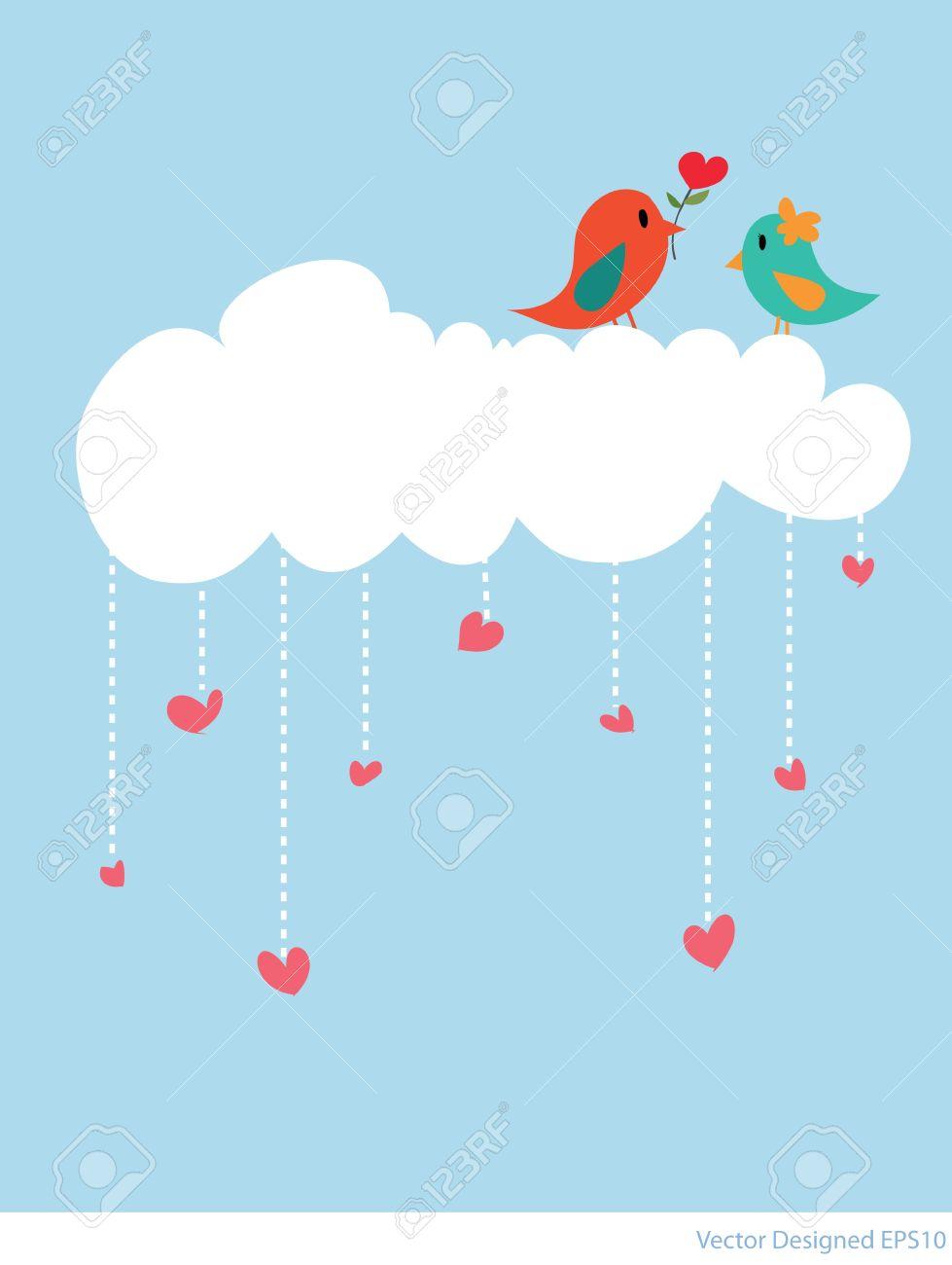 Couple bird with white cloud and hearts rain - Vector Stock Vector - 13229010