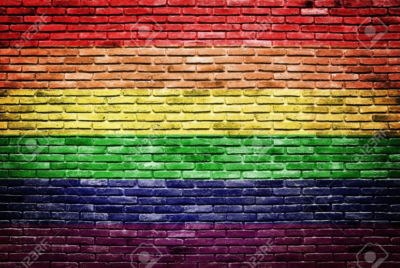 Pics photos desk with flag in background photographic print by - Gay Flag Rainbow Flag Painted On Old Brick Wall Texture Background Stock Photo