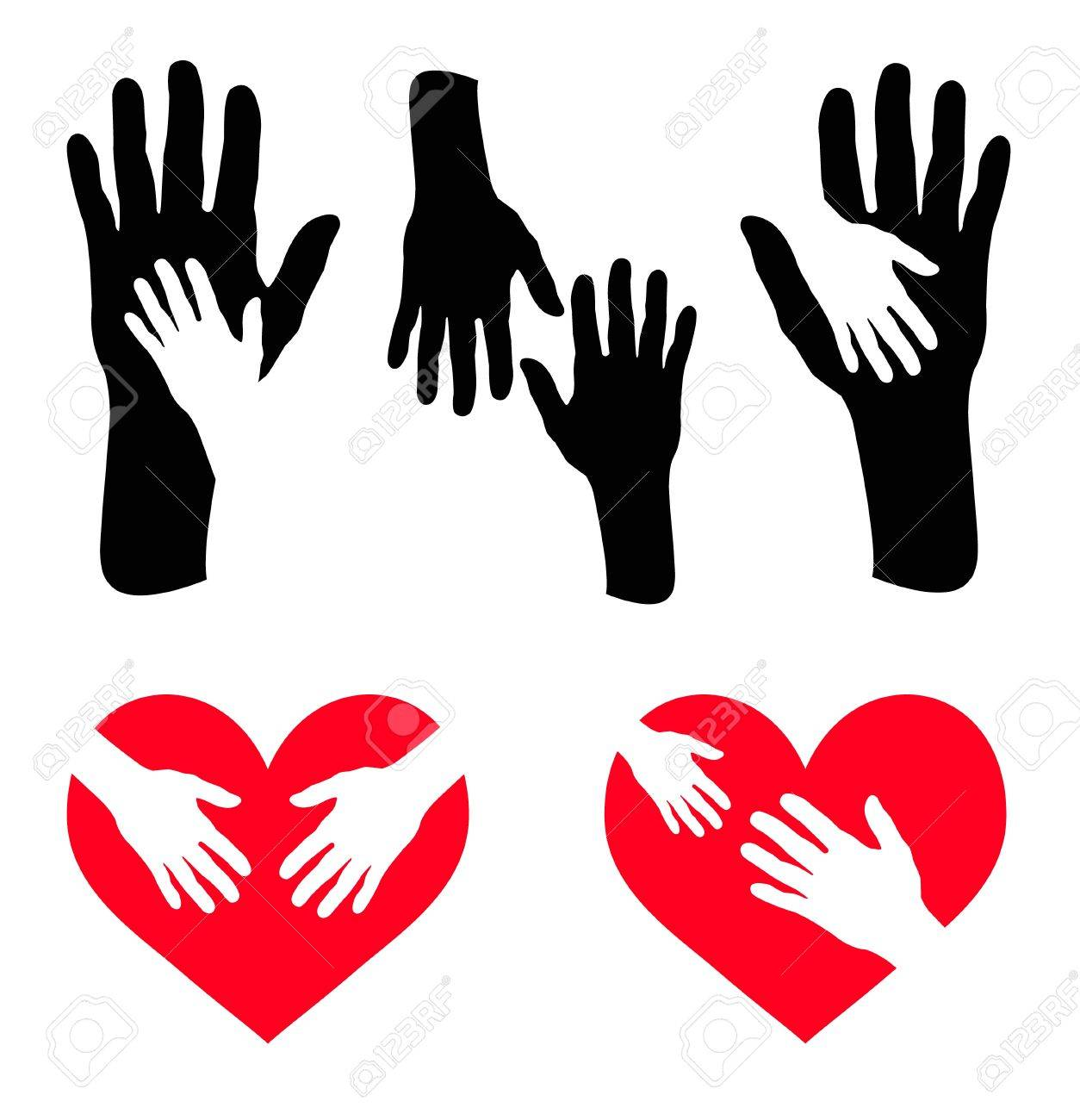 Set of caring hand and hand on red heart Stock Vector - 14122133