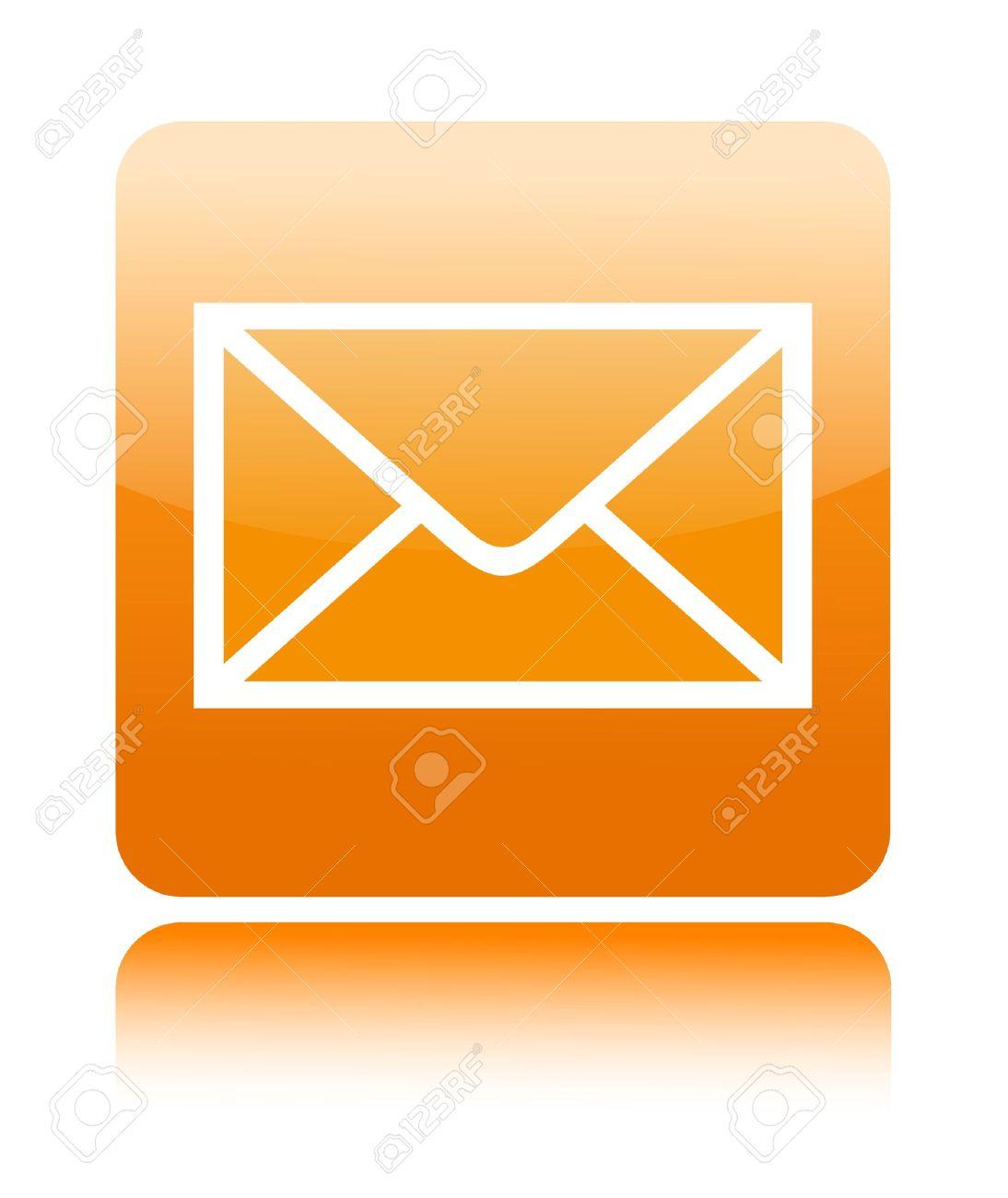 Mail button icon on white Stock Photo - 14399647