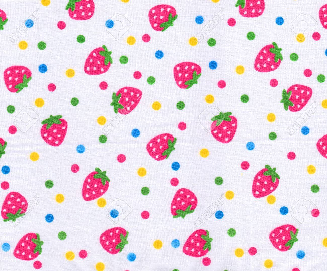 Strawberry pattern on white fabric background Stock Photo - 15115344