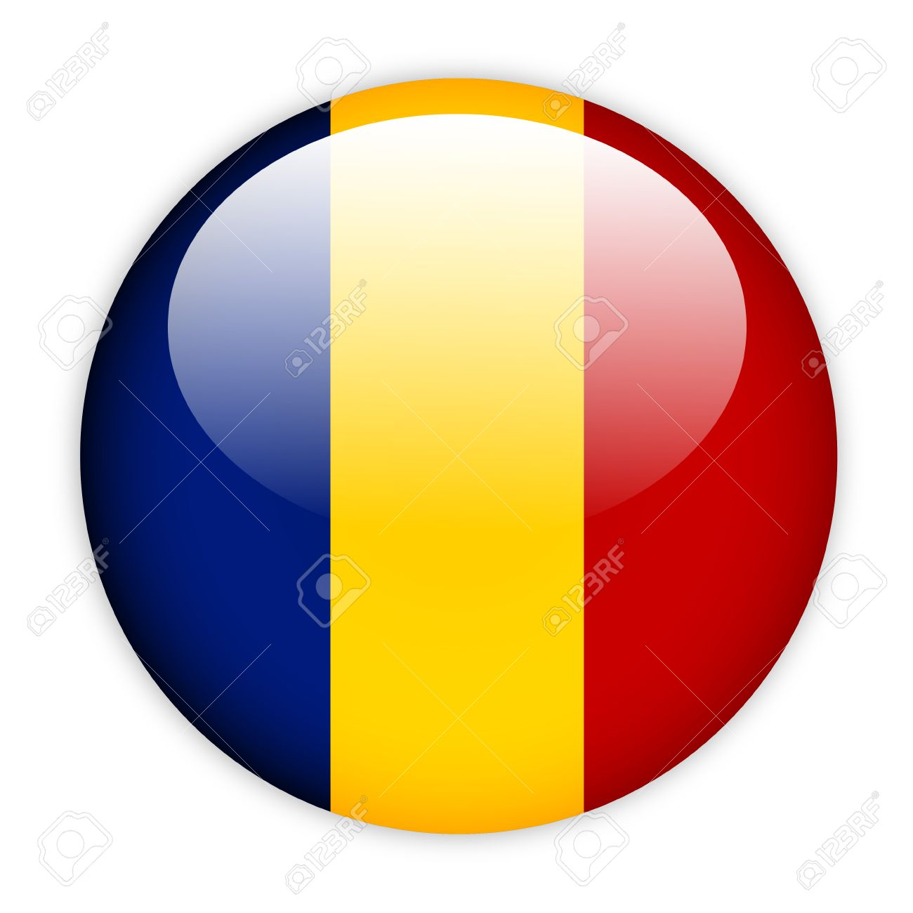 Chad Flag Button On White Stock Photo Picture And Royalty Free - Chad flag