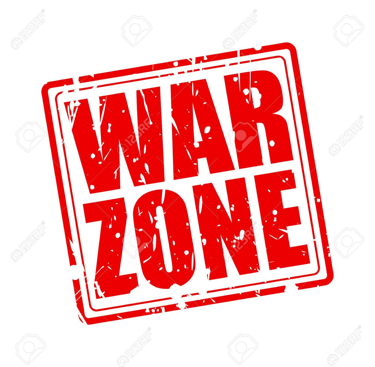 Nudist Zone red zone: War zone red stamp text on white
