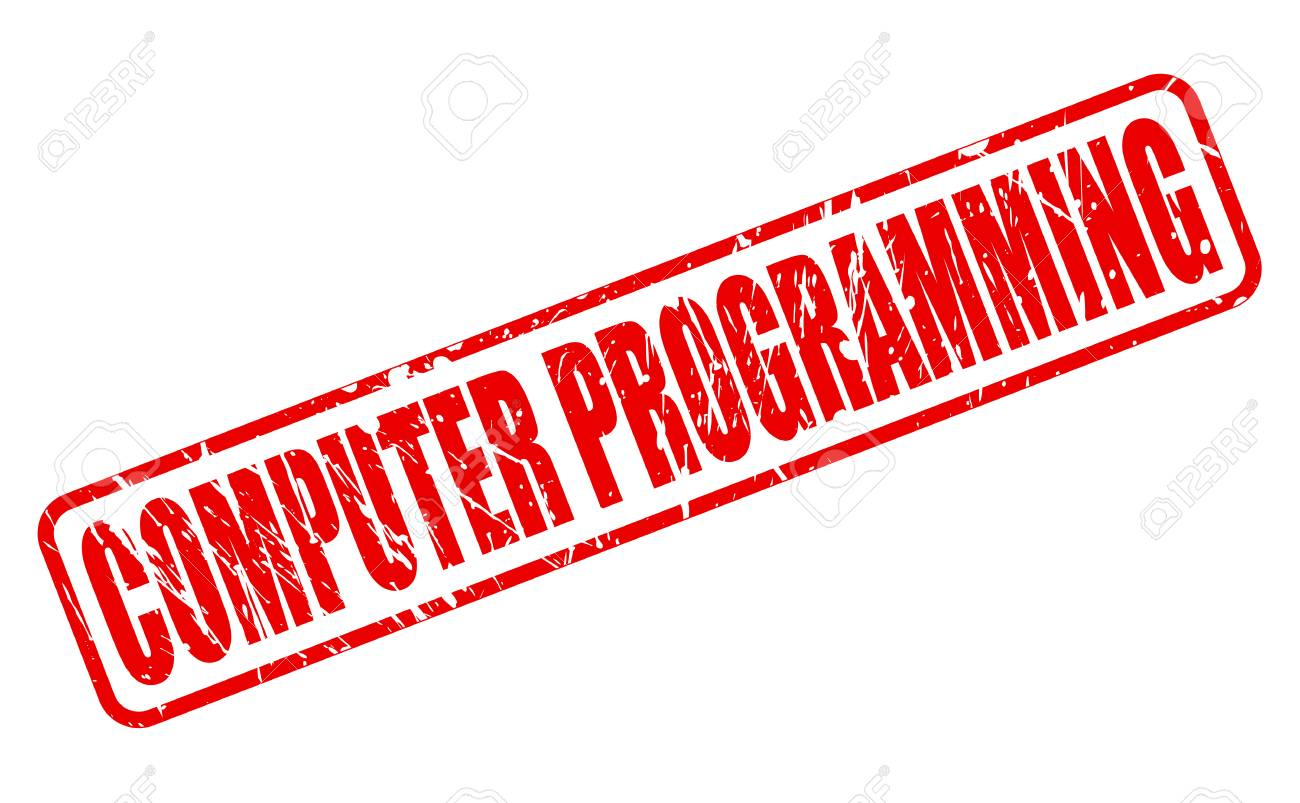 COMPUTER PROGRAMMING Red Stamp Text On White Stock Photo