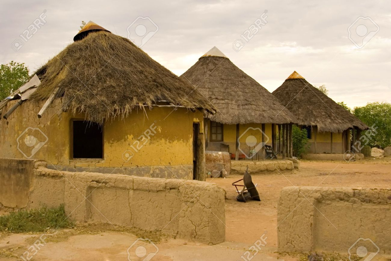 African village traditional huts, at the sunset, poverty, kgotla ( house of the chiefs ), Botswana, Africa Stock Photo - 871320